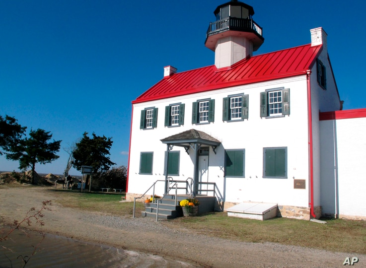 The East Point Lighthouse in Maurice River Township, N.J., Nov. 10, 2018. Rising seas and erosion are threatening lighthouses around the U.S. and the world, including the East Point Lighthouse. With even a moderate-term fix likely to cost $3 million...
