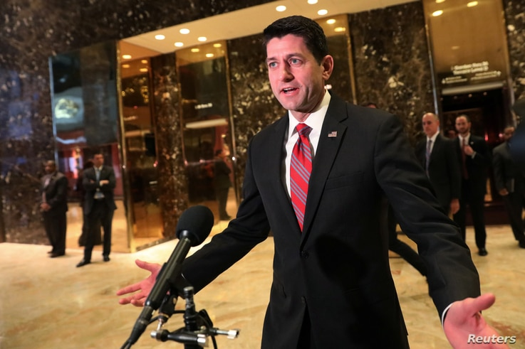 US House of Representatives Speaker Paul Ryan speaks to the media after meeting with President-elect Donald Trump at Trump Tower in New York, Dec. 9, 2016.