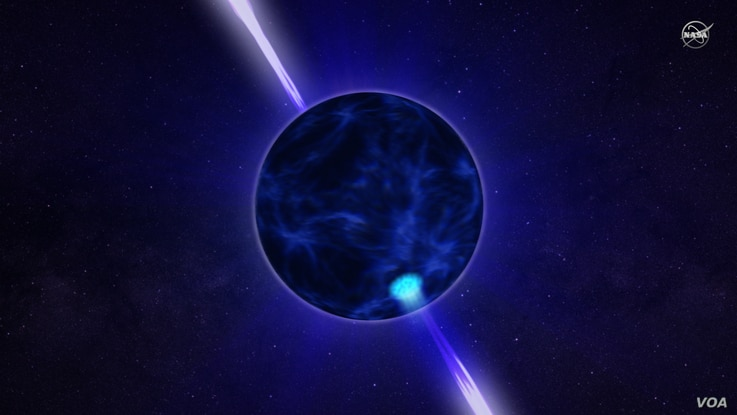 A frame from an animation of a pulsar.