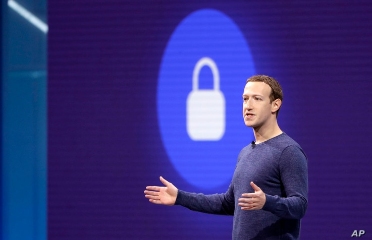 Facebook CEO Mark Zuckerberg makes the keynote speech at F8, Facebook's developer conference, May 1, 2018, in San Jose, Calif.