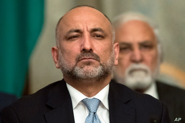 Former national security adviser Haneef Atmar attends the intra-Afghan talks in Moscow, Feb. 6, 2019.