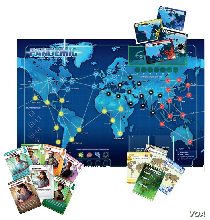 The Pandemic game includes a board showing 48 cities on a global map, a deck of Player cards and one of Infection cards, different color cubes for different diseases, and a pawn for each player.