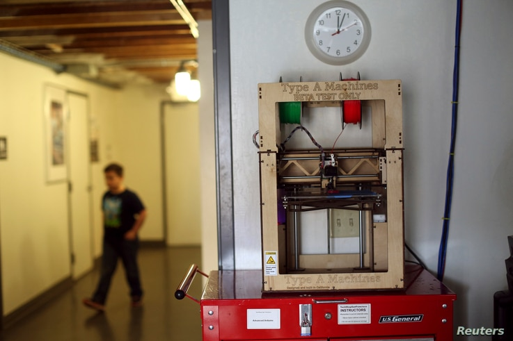 A 3-D printer is pictured at TechShop in the South of Market neighborhood in San Francisco, California, April 24, 2014.