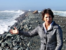 Wave Energy AS program director Stephanie Thornton hopes to harness the power of the crashing waves near Barview, Oregon.