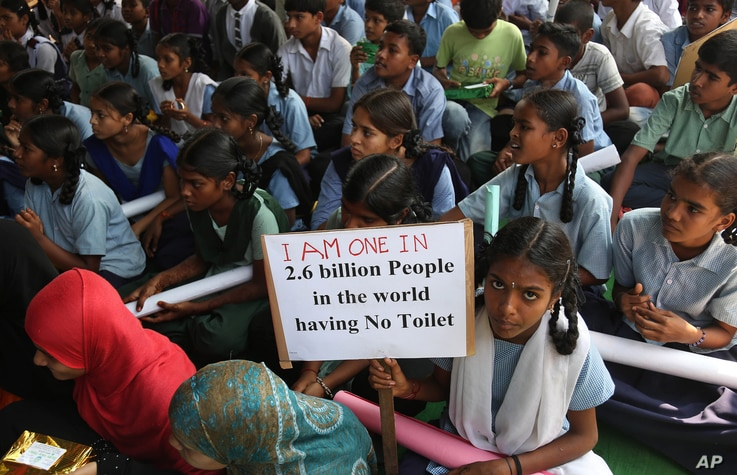 Indian schoolchildren participate in a rally to mark World Toilet Day in Hyderabad, India, Nov.19, 2014. India is considered to have the world's worst sanitation record despite spending some $3 billion since 1986 on sanitation programs, according to ...