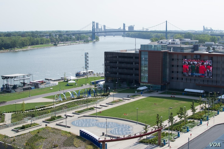 The revitalization of downtown Toledo, Ohio, is illustrated by its recently renovated Promenade Park, an outdoor community event and concert space along the Maumee River.