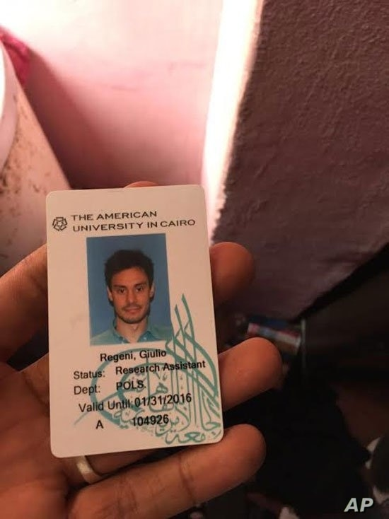 FILE - The Egyptian Interior Ministry released Giulio Regeni's university identification card, which it said was found in a police raid.