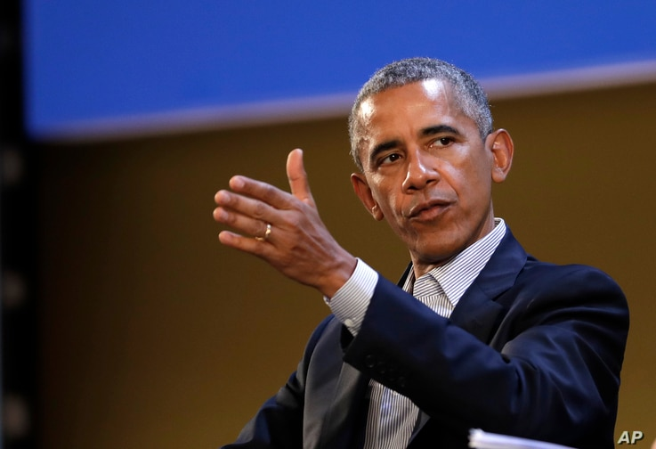 "United States former President Barack Obama talks during the ""Seeds&Chips - Global Food Innovation"" summit, in Milan, May 9, 2017."