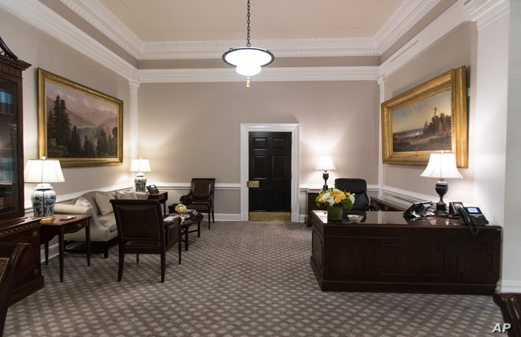 The newly renovated West Wing Lobby of the White House is seen in Washington, Aug. 22, 2017, during a media tour.