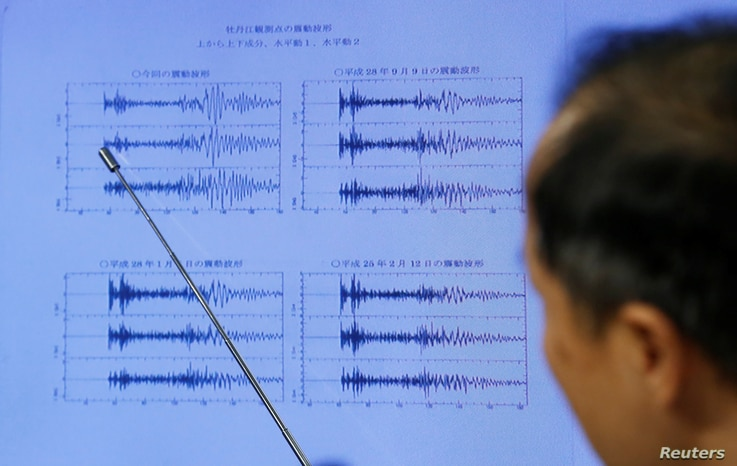 Japan Meteorological Agency's earthquake and tsunami observations division director Toshiyuki Matsumori points at graphs of ground motion waveform data observed in Japan during a news conference at the Japan Meteorological Agency in Tokyo, Japan, Sep