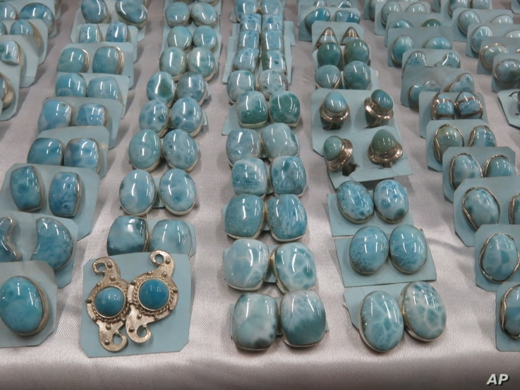 Earrings made with larimar gemstone are on display at a gift shop in Santo Domingo, Dominican Republic, March 12, 2015.