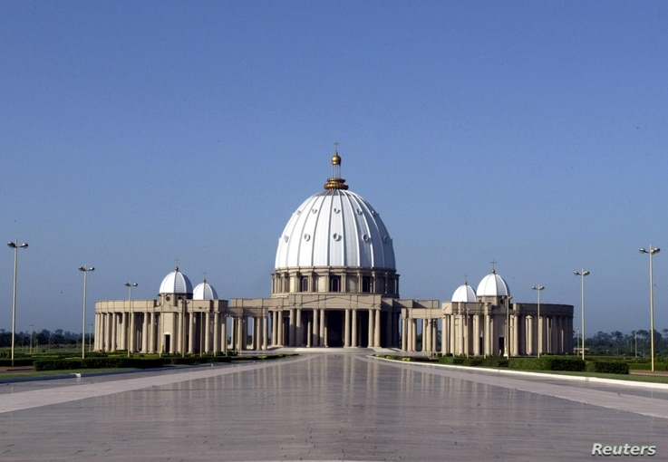 """""""Our Lady of Peace"""" basilica, one of the world largest churches, was built in Yamoussoukro, Ivory Coast, from 1986 to 1989 at an estimated cost of $400 million. The edifice is modeled on Saint Peter's Basilica in Rome."""