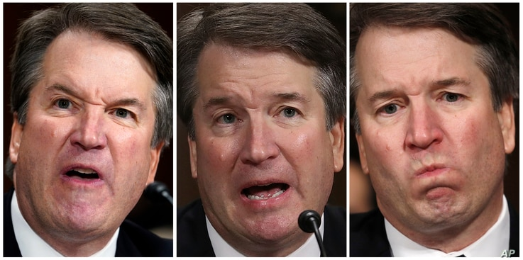 In this photo combination, Supreme Court nominee Brett Kavanaugh testifies before the Senate Judiciary Committee on Capitol Hill in Washington, Sept. 27, 2018.