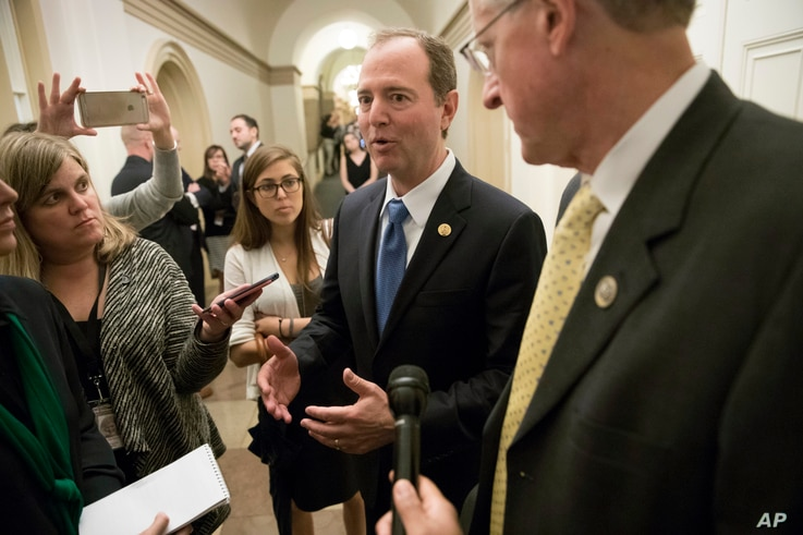 The leaders of the House Intelligence Committee, Rep. Adam Schiff, D-Calif. (C), and Rep. Mike Conaway, R-Texas (R) speak with reporters after a closed-door meeting at the Capitol with Sheryl Sandberg, chief operating officer of social media giant Fa...