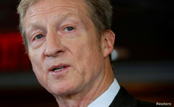 FILE - Tom Steyer, a hedge fund manager and a prominent Democratic fundraiser who has mounted a high-profile advertising campaign advocating the impeachment of U.S. President Donald Trump, holds a news conference in Washington, Jan. 8, 2018.