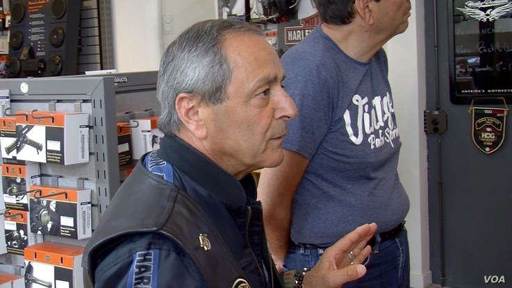 Bastille Harley group Vice President Patrick Sarfati believes motorcycling fans will be willing to pay the higher price that results from European Union tariffs. (L. Bryant/VOA)