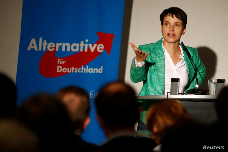 Frauke Petry, chairwoman of the anti-immigration party Alternative for Germany, attends a pre-election meeting in Berlin, Germany, Sept. 16, 2016.