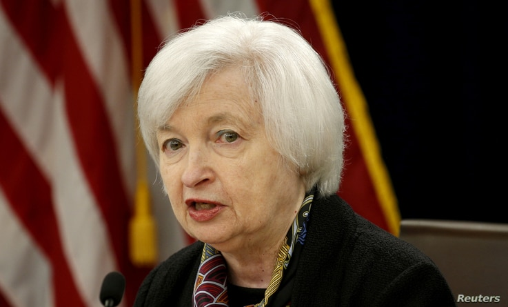 FILE - US Federal Reserve Chair Janet Yellen speaks during a news conference following the two-day Federal Open Market Committee (FOMC) policy meeting in Washington, DC, March 16, 2016.