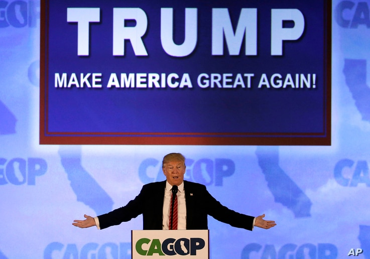 Republican presidential candidate Donald Trump speaks at the California Republican Party 2016 Convention in Burlingame, Calif., April 29, 2016.