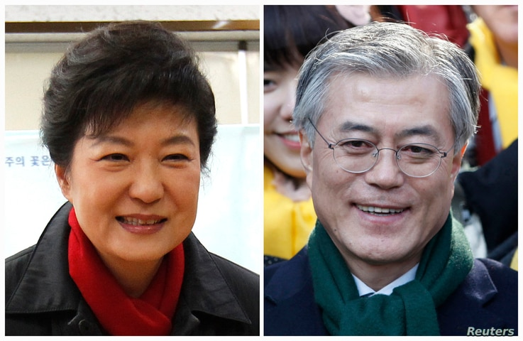 A combination photograph shows South Korea's presidential candidate Park Geun-hye of conservative and right wing ruling Saenuri Party, and Moon Jae-in, former human rights lawyer and presidential candidate of the main opposition Democratic United Pa...