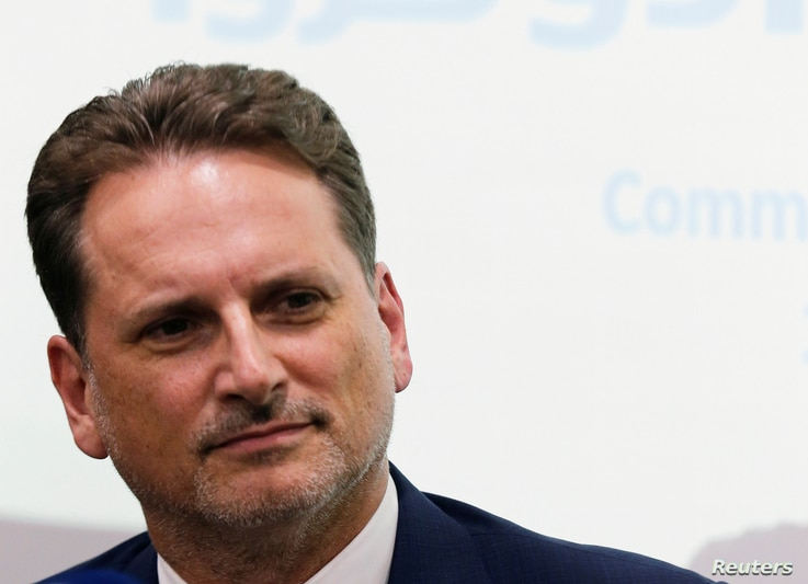UNRWA Commissioner General Pierre Krahenbuhl, is seen during a news conference in Cairo, Egypt, Sept. 10, 2018.