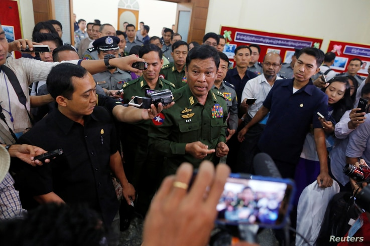 Myanmar's Home Affairs Minister Kyaw Swe speaks to the media during a news conference regarding the killing of Ko Ni, a lawyer advising the ruling National League for Democracy (NLD) party, in Yangon, Myanmar February 25, 2017.