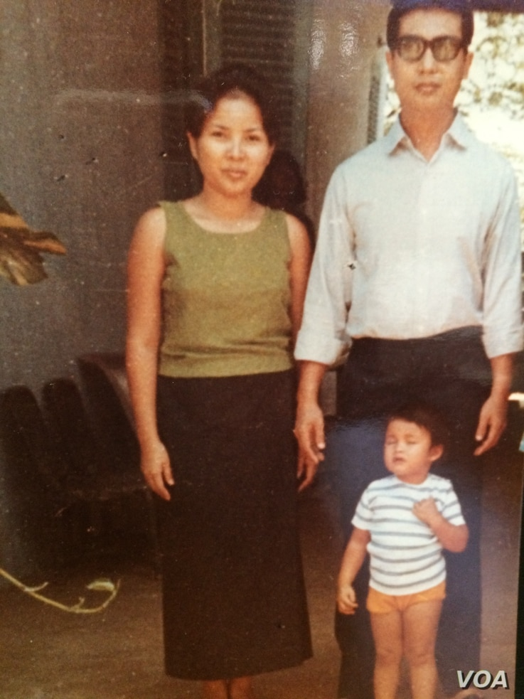 Cambodian American novelist Variny Yim with her mother and father