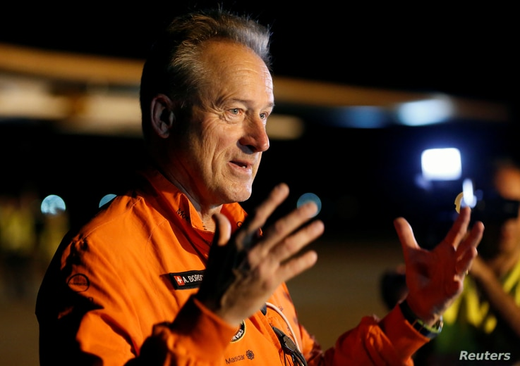 FILE - Swiss aviator of the solar-powered plane Solar Impulse 2 Andre Borschberg speaks with journalists before taking off at San Pablo airport in Seville, southern Spain, July 11, 2016.