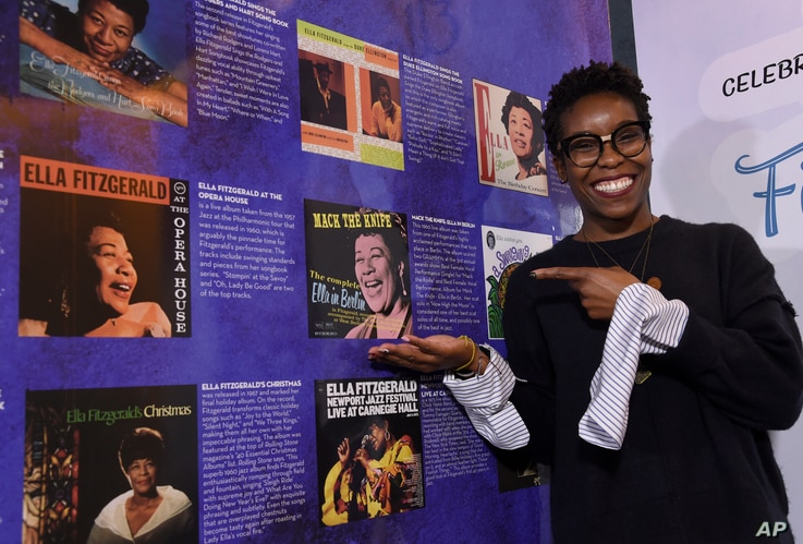"""Nwaka Onwusa, curator of The Grammy Museum at L.A. Live, poses for a portrait at a sneak preview of """"Ella at 100: Celebrating the Artistry of Ella Fitzgerald,""""  April 24, 2017."""