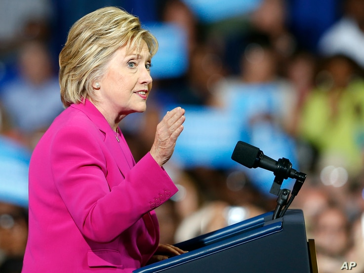 Democratic presidential candidate Hillary Clinton speaks during a campaign rally in Charlotte, North Carolina, July 5, 2016.