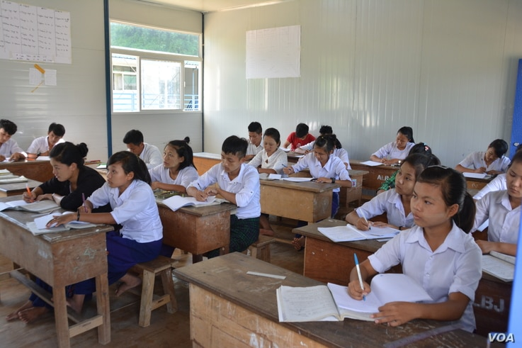 Students study at a high school run by the Kachin Independence Army in Laiza, on the Myanmar-China border.