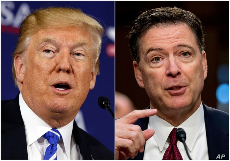This combination photo shows President Donald Trump speaking during a roundtable discussion in White Sulphur Springs, W.Va., April 5, 2018, left, and former FBI director James Comey speaking during a Senate Intelligence Committee hearing on Capitol H...