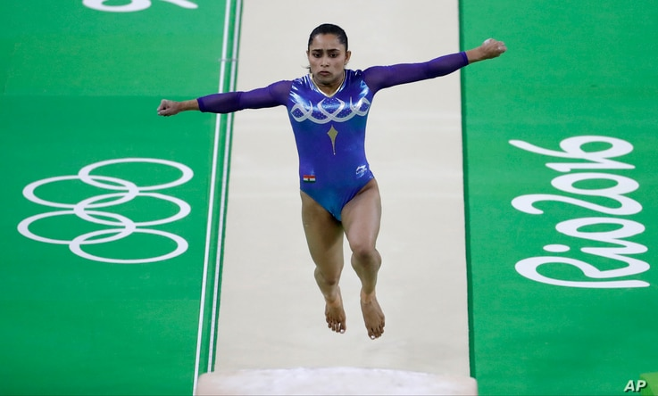 India's Dipa Karmakar performs on the vault during the Artistic Gymnastics Women's Apparatus Final at the 2016 Summer Olympics in Rio de Janeiro, Brazil, Aug. 14, 2016.