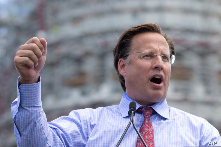 Rep. Dave Brat, R-Va., speaks during a rally organized by Tea Party Patriots on Capitol Hill in Washington, Sept. 9, 2015, to oppose the Iran nuclear agreement.