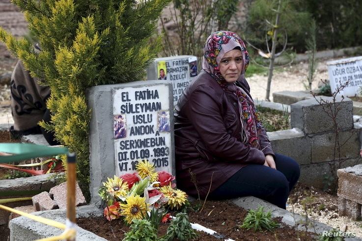 A mother mourns for her son, Suleyman Uslu, killed in fighting the Islamic State in north Syria, at a cemetery in Diyarbakir, Turkey, Feb. 25, 2016. He was part of the Syrian Kurdish YPG militia, which the U.S. backs in fighting IS.