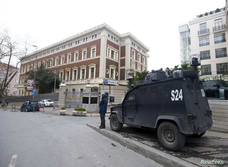 An armored police vehicle waits in front of the German Consulate, which is closed on indications of a possible imminent attack, in Istanbul, Turkey March 17, 2016.