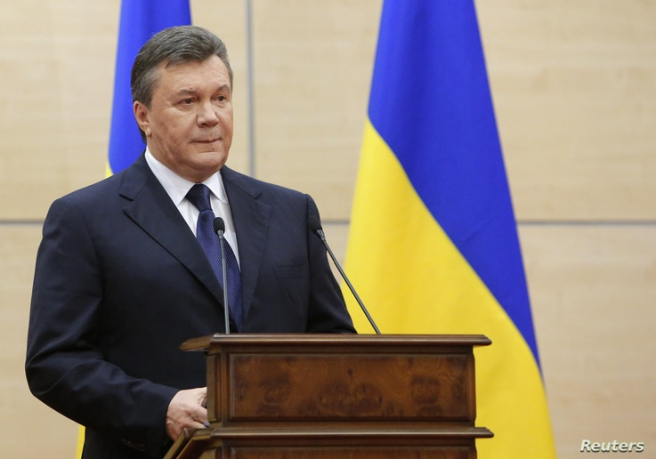 Ousted Ukrainian President Viktor Yanukovich makes a statement during a news conference in the southern Russian city of Rostov-on-Don, March 11, 2014. Yanukovich said on Tuesday that Crimea is breaking away from Ukraine and blamed opponents who force...