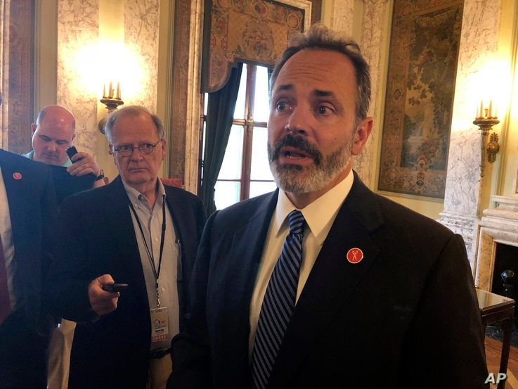 Kentucky Gov. Matt Bevin speaks with reporters about a new report detailing an increase in drug overdose deaths, July 25, 2018, in Frankfort, Ky.