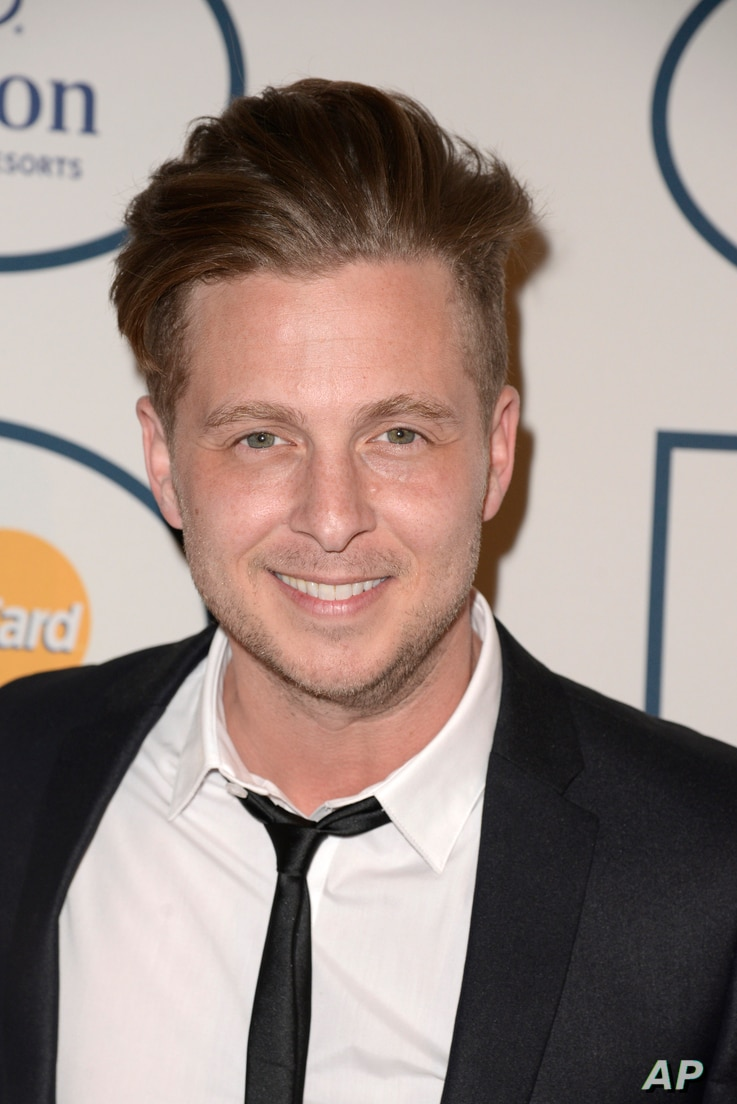 Ryan Tedder arrives at the 56th annual Grammy Awards in Beverly Hills, California, Jan. 25, 2014.