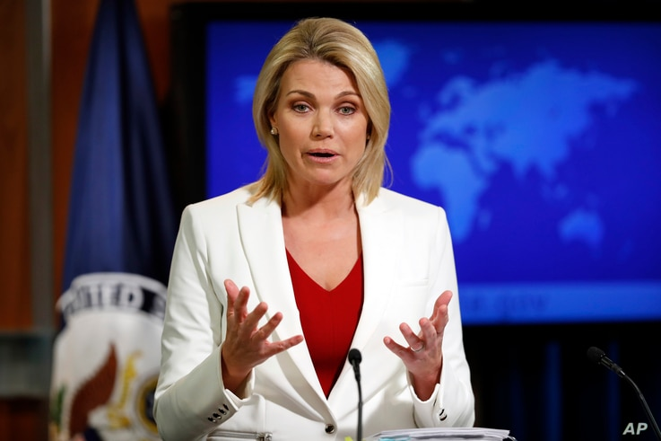 """State Department spokeswoman Heather Nauert, shown during a briefing in Washington on Aug. 9, 2017, reaffirmed the U.S. position on a snap Venezuela election saying, """"This vote would be neither free nor fair. It would only deepen, not help resolve, n"""