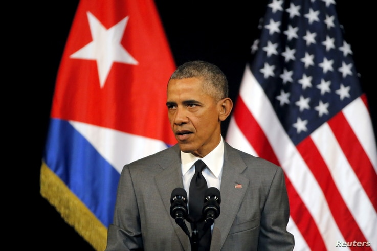 U.S. President Barack Obama delivers a speech at the Gran Teatro in Havana, Cuba, March 22, 2016.