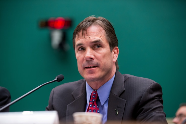 Michigan Department of Health and Human Services Director Nick Lyon testifies on Capitol Hill in Washington, April 13, 2016, before a House joint subcommittee hearing on the ongoing Flint lead-contamination water crisis.