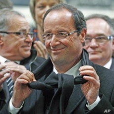 Francois Hollande visits the SAFRA industrial rail body factory on a campaign trip in Albi, France, April 16, 2012.