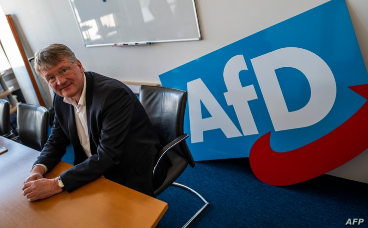 FILE - Co-leader of the Alternative for Germany (AfD) far-right party Joerg Meuthen is pictured in Berlin, March 25, 2019, prior to an interview.
