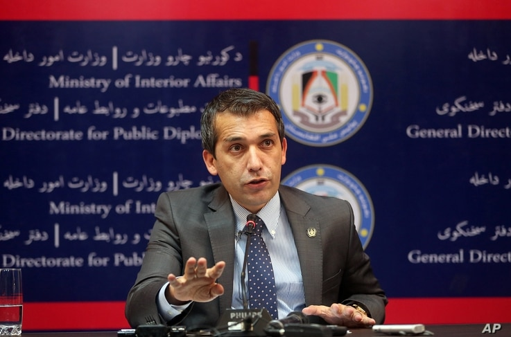 Sediq Sediqi, spokesman for the Afghan interior ministry, speaks with news media about a militant pre-dawn attack in Kunduz, at the interior ministry in Kabul, Afghanistan, Sept. 28, 2015.
