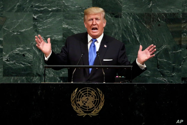 FILE - In this Sept. 19, 2017, file photo, U.S. President Donald Trump addresses the 72nd session of the United Nations General Assembly, at U.N. headquarters.