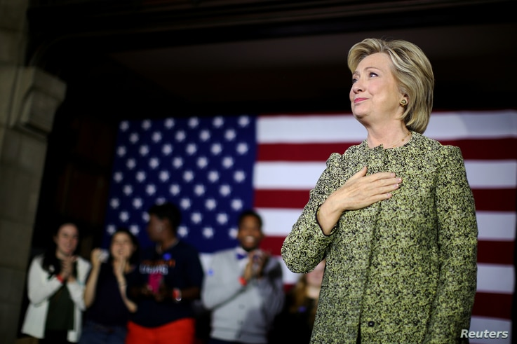 U.S. Democratic presidential candidate Hillary Clinton reacts after speaking at a campaign event at Temple University in Philadelphia, Pennsylvania, Sept. 19, 2016.