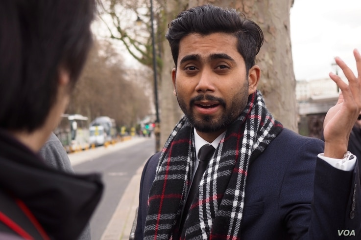 """Tawhid Tanim, an eyewitness to the incident tells VOA """"It was quite loud.  Three loud bang, bang, bang and then all of a sudden we could see on the road people started running like crazy."""" (Photo: R. James / VOA)"""