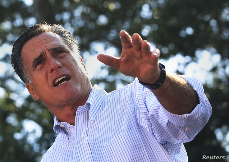 U.S. Republican presidential candidate Mitt Romney speaks during a campaign stop in St. Augustine, Florida August 13, 2012.