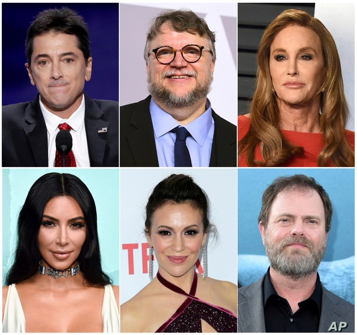 This combination photo shows celebrities, top row from left, Scott Baio, Guillermo del Toro, Caitlyn Jenner and bottom row from left, Kim Kardashian, Alyssa Milano and Rainn Wilson.